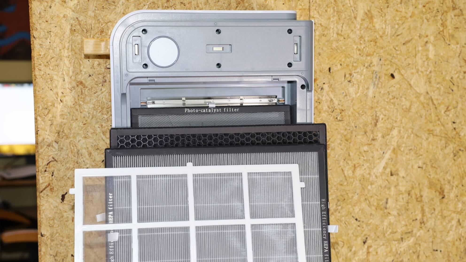 Geöffneter HEPA Luftreiniger für Allergiker – es sind mehrere Filtermatten zu sehen