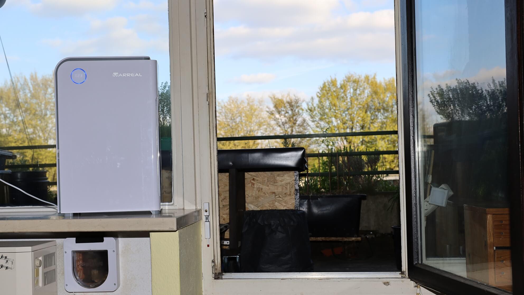 Dieser Luftreiniger für Allergiker steht neben der offenen Tür – gute Idee?